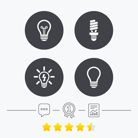 energy ranking: Light lamp icons. Fluorescent lamp bulb symbols. Energy saving. Idea and success sign. Chat, award medal and report linear icons. Star vote ranking. Vector