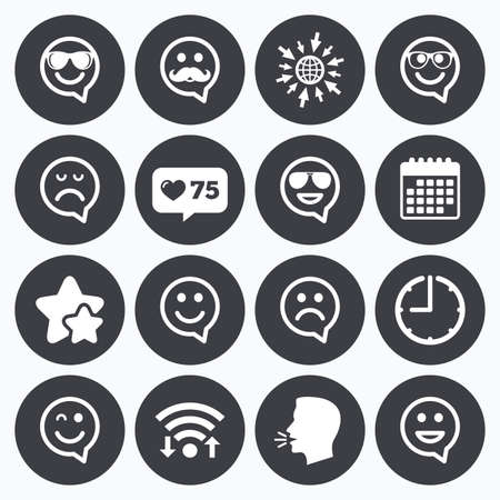 sorrowful: Calendar, wifi and clock symbols. Like counter, stars symbols. Smile speech bubbles icons. Happy, sad and wink faces signs. Sunglasses, mustache and laughing lol smiley symbols. Talking head, go to web symbols. Vector Illustration