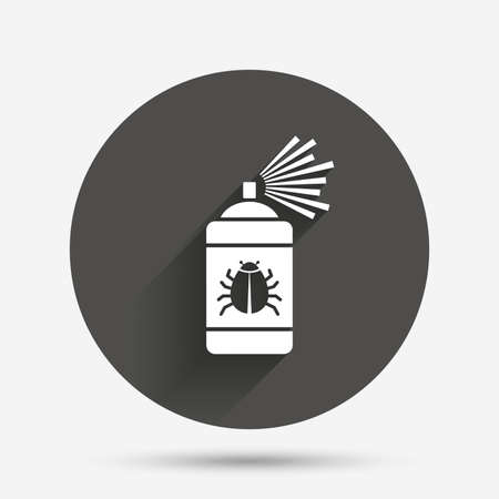 disinfection: Bug disinfection sign icon. Fumigation symbol. Bug sprayer. Circle flat button with shadow. Vector Illustration