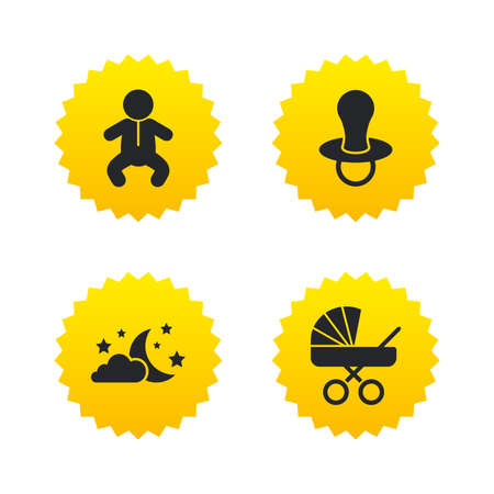 Moon and stars symbol. Baby infants icon. Buggy and dummy signs. Child pacifier and pram stroller. Yellow stars labels with flat icons. Vector Illustration