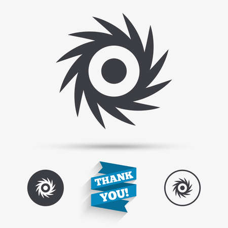 cutting blade: Saw circular wheel sign icon. Cutting blade symbol. Flat icons. Buttons with icons. Thank you ribbon. Vector