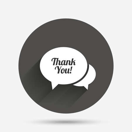 thanks a lot: Speech bubble thank you sign icon. Customer service symbol. Circle flat button with shadow. Vector