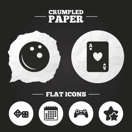 crumpled paper ball: Crumpled paper speech bubble. Bowling and Casino icons. Video game joystick and playing card with dice symbols. Entertainment signs. Paper button. Vector