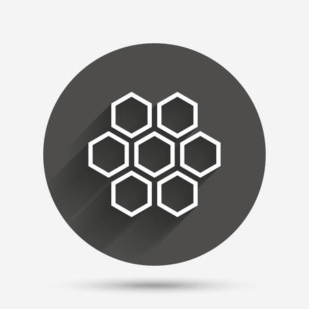 beeswax: Honeycomb sign icon. Honey cells symbol. Sweet natural food. Circle flat button with shadow. Vector