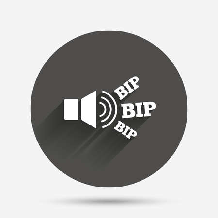 loud speaker: Speaker volume icon. Sound with BIP symbol. Loud signal. Circle flat button with shadow. Vector Illustration