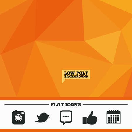 chat up: Triangular low poly orange background. Hipster photo camera icon. Like and Chat speech bubble sign. Hand thumb up. Bird symbol. Calendar flat icon. Vector