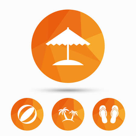sandal tree: Beach holidays icons. Ball, umbrella and flip-flops sandals signs. Palm trees symbol. Triangular low poly buttons with shadow. Vector