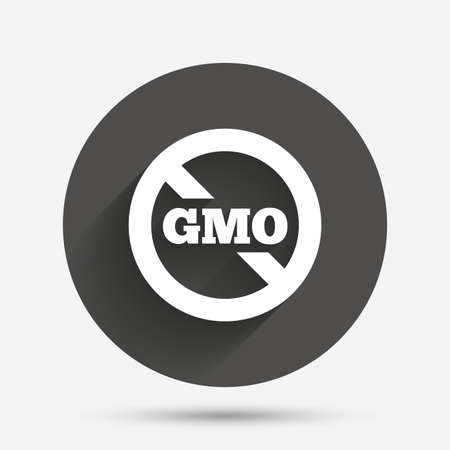 gmo: No GMO sign icon. Without Genetically modified food. Stop GMO. Circle flat button with shadow. Vector
