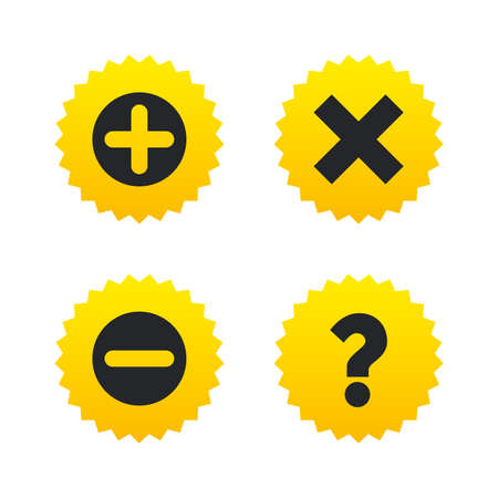 Plus and minus icons. Delete and question FAQ mark signs. Enlarge zoom symbol. Yellow stars labels with flat icons. Vector Illustration