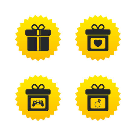 Gift box sign icons. Present with bow and ribbons symbols. Engagement ring sign. Video game joystick. Yellow stars labels with flat icons. Vector Illustration