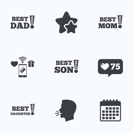 dad son: Best mom and dad, son and daughter icons. Awards with exclamation mark symbols. Flat talking head, calendar icons. Stars, like counter icons. Vector