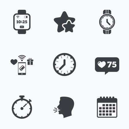 digital timer: Smart watch icons. Mechanical clock time, Stopwatch timer symbols. Wrist digital watch sign. Flat talking head, calendar icons. Stars, like counter icons. Vector