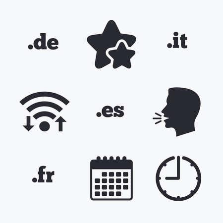 vector es: Top-level internet domain icons. De, It, Es and Fr symbols. Unique national DNS names. Wifi internet, favorite stars, calendar and clock. Talking head. Vector