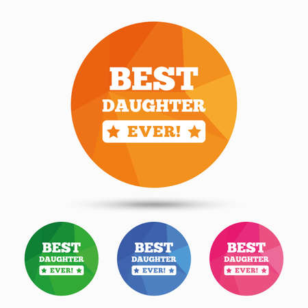 low prizes: Best daughter ever sign icon. Award symbol. Exclamation mark. Triangular low poly button with flat icon. Vector Illustration