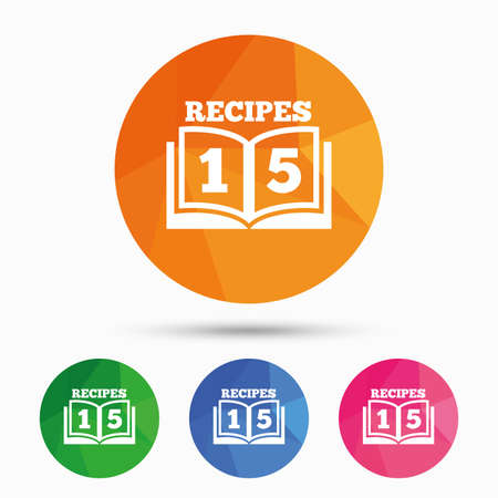 cookbook: Cookbook sign icon. 15 Recipes book symbol. Triangular low poly button with flat icon. Vector