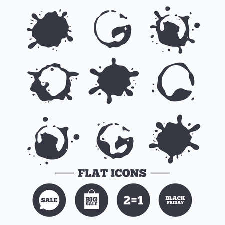 sign equals: Paint, coffee or milk splash blots. Sale speech bubble icons. Two equals one. Black friday sign. Big sale shopping bag symbol. Smudges splashes drops. Vector
