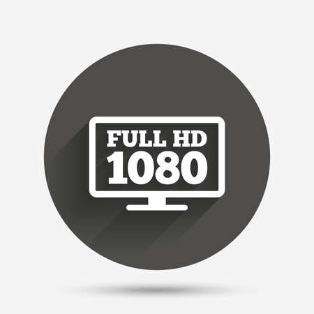 full hd: Full hd widescreen tv sign icon. 1080p symbol. Circle flat button with shadow. Vector