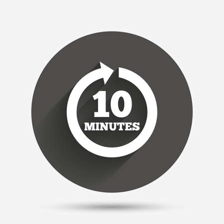 every: Every 10 minutes sign icon. Full rotation arrow symbol. Circle flat button with shadow. Vector