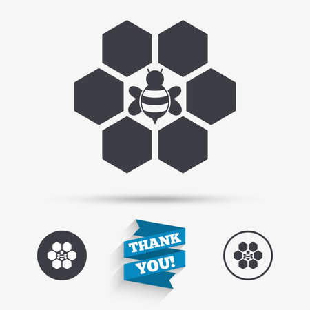 beeswax: Honeycomb with bee sign icon. Honey cells symbol. Sweet natural food. Flat icons. Buttons with icons. Thank you ribbon. Vector