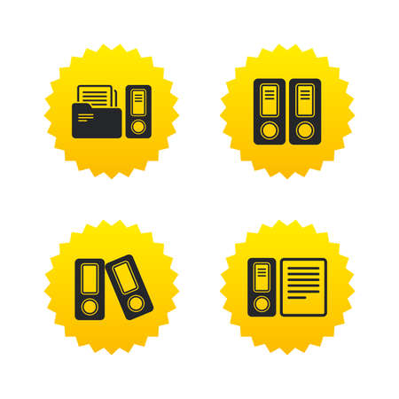 Accounting icons. Document storage in folders sign symbols. Yellow stars labels with flat icons. Vector Illustration