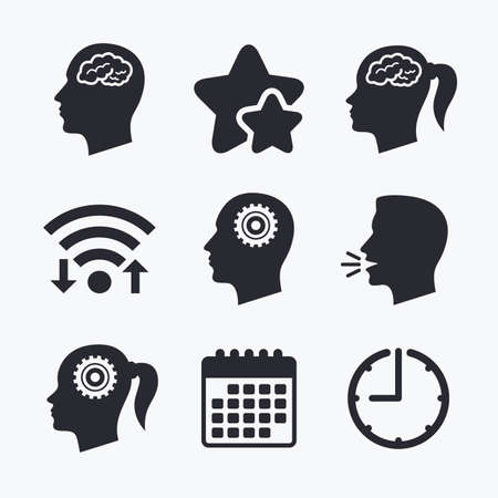 pigtail: Head with brain icon. Male and female human think symbols. Cogwheel gears signs. Woman with pigtail. Wifi internet, favorite stars, calendar and clock. Talking head. Vector
