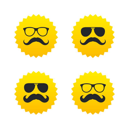 yellow hair: Mustache and Glasses icons. Hipster symbols. Facial hair signs. Yellow stars labels with flat icons. Vector
