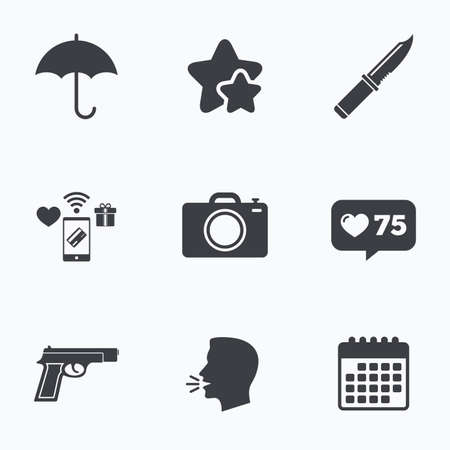 edged: Gun weapon icon.Knife, umbrella and photo camera signs. Edged hunting equipment. Prohibition objects. Flat talking head, calendar icons. Stars, like counter icons. Vector