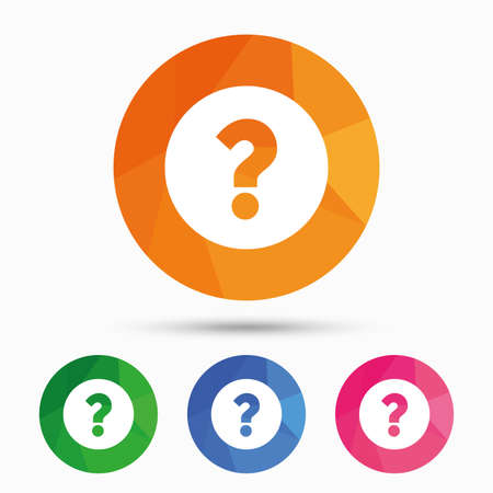query: Question mark sign icon. Help symbol. FAQ sign. Triangular low poly button with flat icon. Vector Illustration