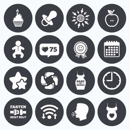 newborn footprint: Calendar, wifi and clock symbols. Like counter, stars symbols. Pregnancy, maternity and baby care icons. Apple, award and pacifier signs. Footprint, birthday cake and newborn symbols. Talking head, go to web symbols. Vector