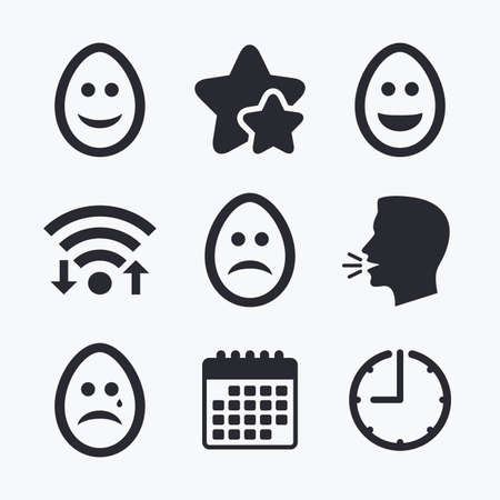 pasch: Eggs happy and sad faces icons. Crying smiley with tear symbols. Tradition Easter Pasch signs. Wifi internet, favorite stars, calendar and clock. Talking head. Vector