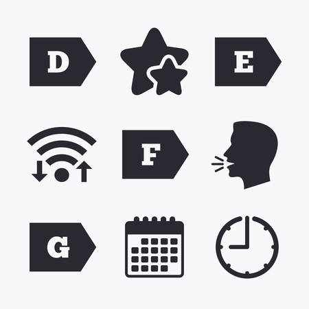 consumption: Energy efficiency class icons. Energy consumption sign symbols. Class D, E, F and G. Wifi internet, favorite stars, calendar and clock. Talking head. Vector