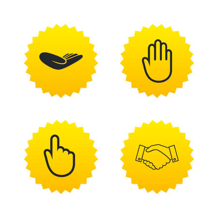 Hand icons. Handshake successful business symbol. Click here press sign. Human helping donation hand. Yellow stars labels with flat icons. Vector Illustration