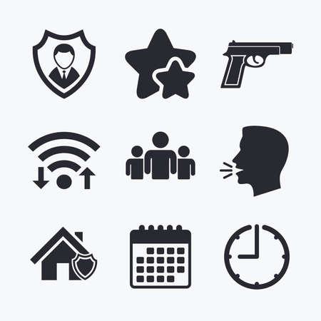 home group: Security agency icons. Home shield protection symbols. Gun weapon sign. Group of people or Share. Wifi internet, favorite stars, calendar and clock. Talking head. Vector Illustration
