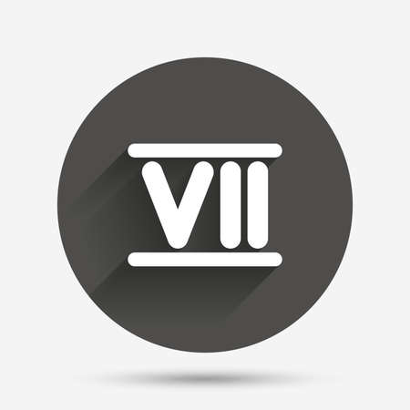 numeral: Roman numeral seven sign icon. Roman number seven symbol. Circle flat button with shadow. Vector Illustration