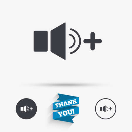 louder: Speaker volume louder sign icon. Sound symbol. Flat icons. Buttons with icons. Thank you ribbon. Vector