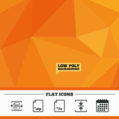 compressed: Triangular low poly orange background. Archive file icons. Compressed zipped document signs. Data compression symbols. Calendar flat icon. Vector Illustration