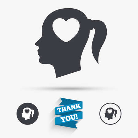 pigtail: Head with heart sign icon. Female woman human head in love with pigtail symbol. Flat icons. Buttons with icons. Thank you ribbon. Vector