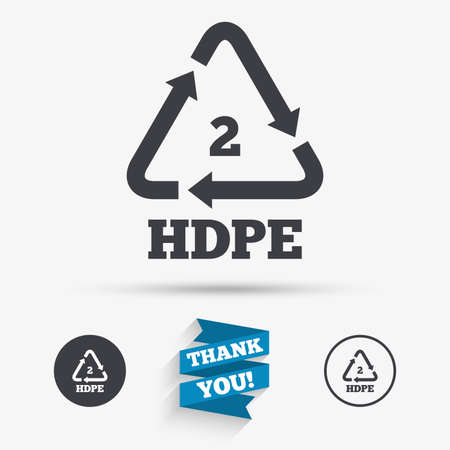 thermoplastic: Pe-hd 2 icon. Polyethylene high-density sign. Recycling symbol. Flat icons. Buttons with icons. Thank you ribbon. Vector