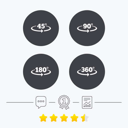 acute angle: Angle 45-360 degrees icons. Geometry math signs symbols. Full complete rotation arrow. Chat, award medal and report linear icons. Star vote ranking. Vector
