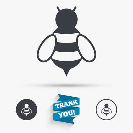 Bee sign icon. Honeybee or apis with wings symbol. Flying insect. Flat icons. Buttons with icons. Thank you ribbon. Vector Illustration