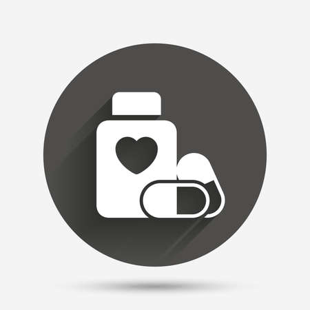 pills bottle: Medical heart pills bottle sign icon. Pharmacy medicine drugs symbol. Circle flat button with shadow. Vector