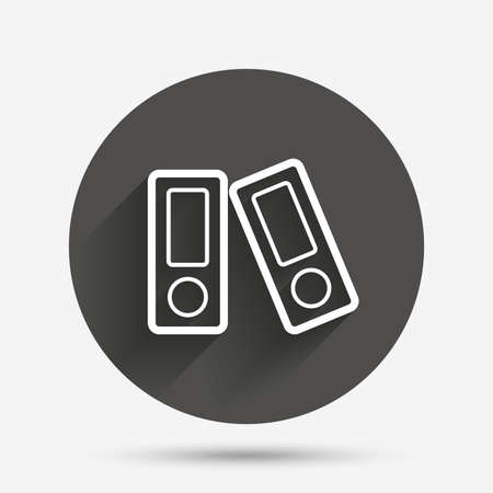 bookkeeping: Document folder sign. Accounting binder symbol. Bookkeeping management. Circle flat button with shadow. Vector