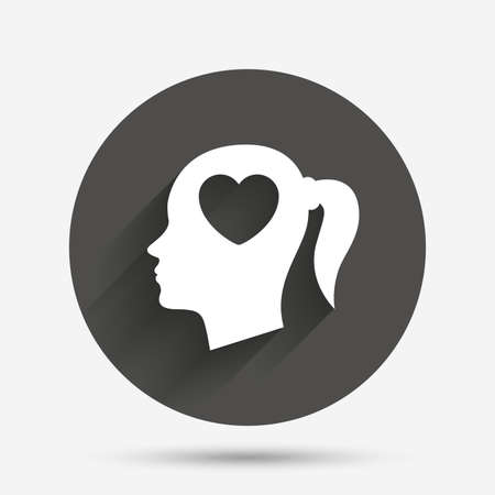 pigtail: Head with heart sign icon. Female woman human head in love with pigtail symbol. Circle flat button with shadow. Vector Illustration