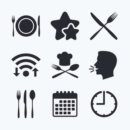 etiquette: Plate dish with forks and knifes icons. Chief hat sign. Crosswise cutlery symbol. Dining etiquette. Wifi internet, favorite stars, calendar and clock. Talking head. Vector