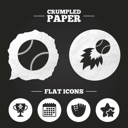 crumpled paper ball: Crumpled paper speech bubble. Baseball sport icons. Ball with glove and two crosswise bats signs. Fireball with award cup symbol. Paper button. Vector