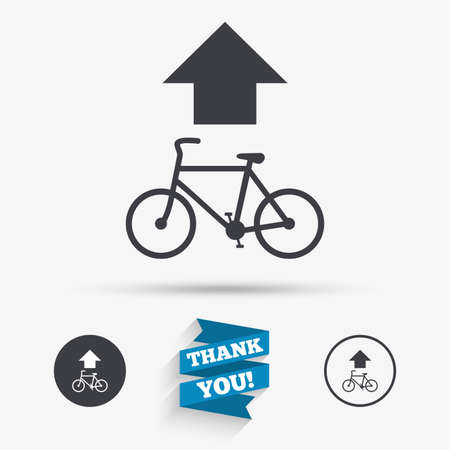 straight path: Bicycle path trail sign icon. Cycle path. Up straight arrow symbol. Flat icons. Buttons with icons. Thank you ribbon. Vector Illustration