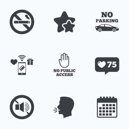 public private: Stop smoking and no sound signs. Private territory parking or public access. Cigarette and hand symbol. Flat talking head, calendar icons. Stars, like counter icons. Vector