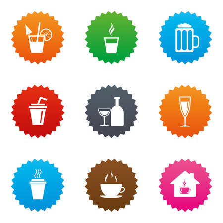 Tea, coffee and beer icons. Beer, wine and cocktail signs. Take away drinks. Stars label button with flat icons. Vector