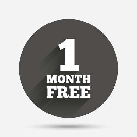 Eerste maand gratis aanmelden icoon. Speciale aanbieding symbool. Cirkel flat knop met schaduw. Vector Stock Illustratie