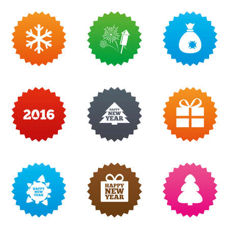 salut: Christmas, new year icons. Gift box, fireworks and snowflake signs. Santa bag, salut and rocket symbols. Stars label button with flat icons. Vector Illustration